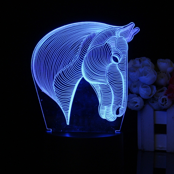 Horse Head 3D Night Light 7 Color Change Home Bedroom LED Table Desk Art Lamp
