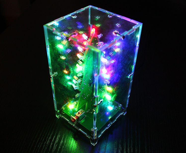 Geekcreit® Christmas Tree RGB Colorful LED Flash Kit With Transparent Cover DIY Electronic Kit