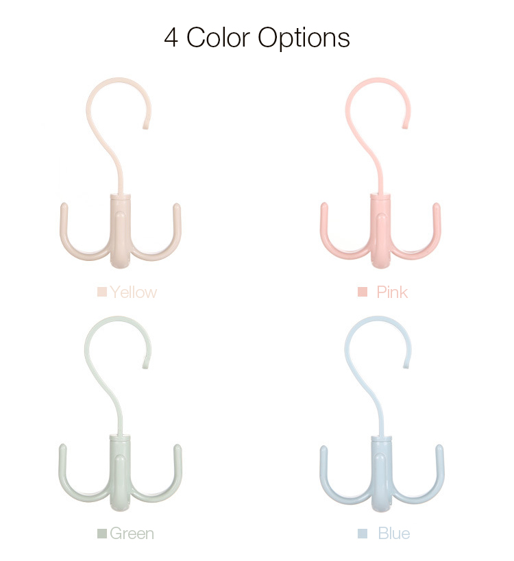 Honana 360 Degree Multipurpose Rotation Hanging Clothes Fourfold Robe Hooks for Coats Shoes Towels