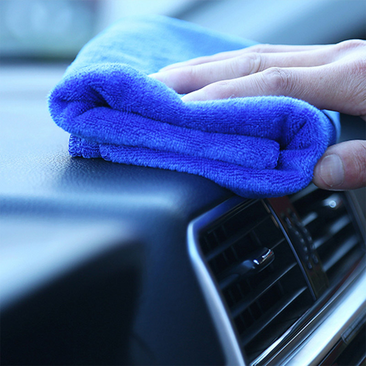 10PCS Microfiber Cleaning Cloths Washing Towel Blue for Car Polishing Wax Detailing Drying