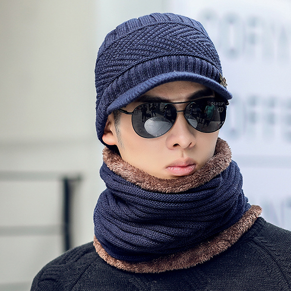 Mens Knitted Slouch Warm Baseball Cap Collar Scarf Set