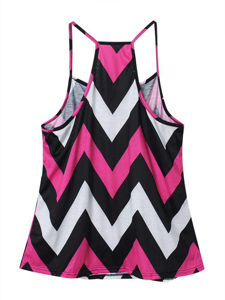 Women Wave Colorful O-neck Sleeveless Top