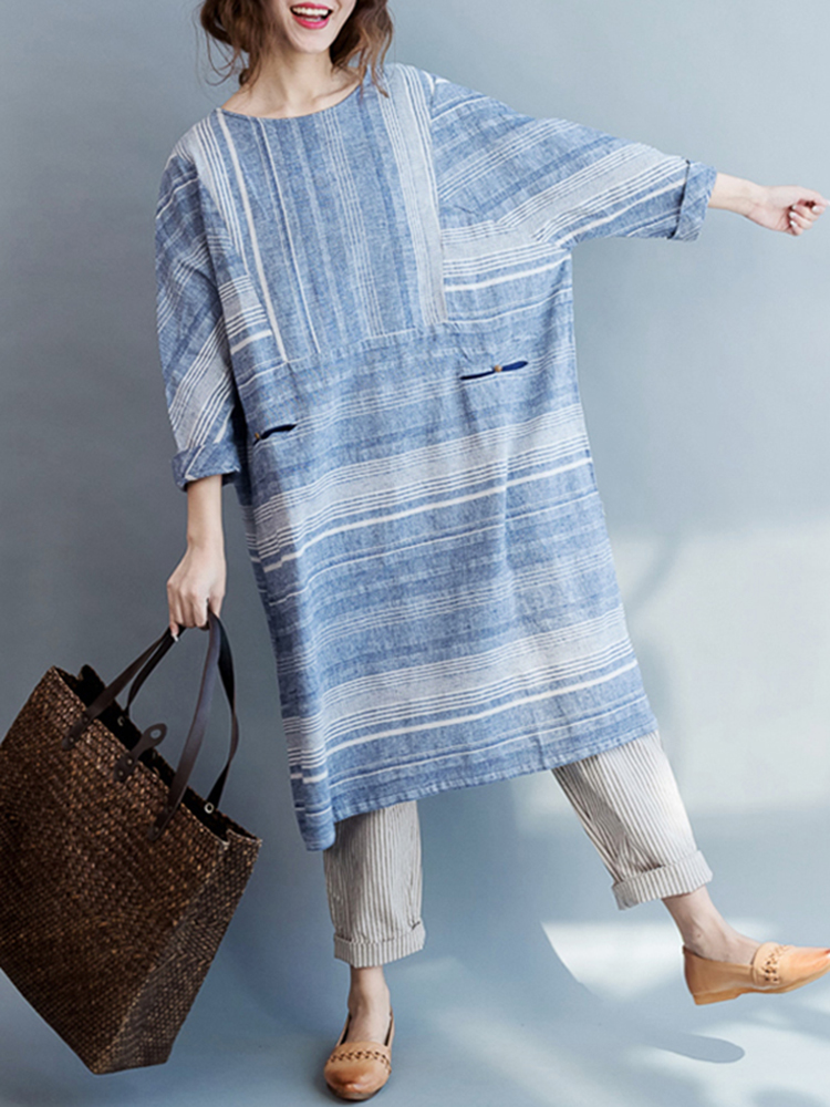 Cotton O-Neck Stripe Batwing Sleeves Loose Dress