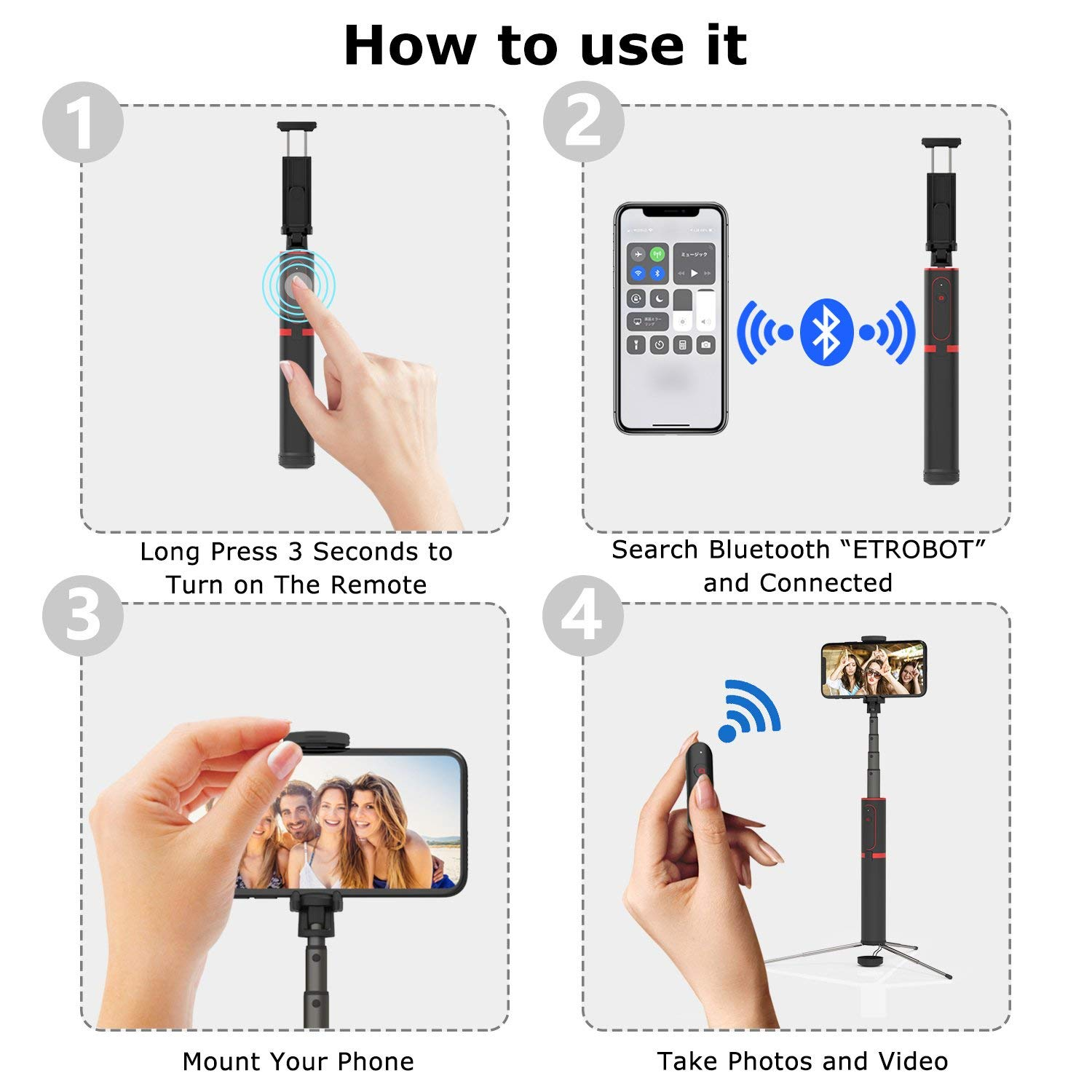 Bakeey All in One Hidden Design Aluminum Extendable Selfie Stick with Tripod Non Skid Monopod