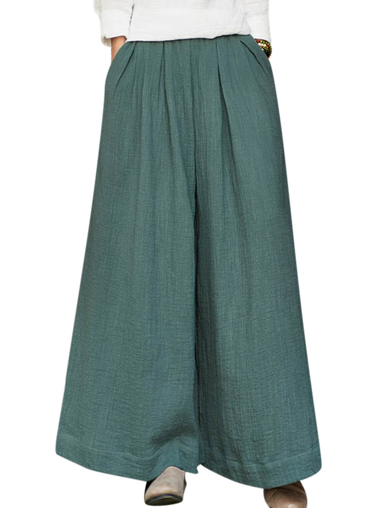 S-5XL Casual Loose Pure Color Wide Leg Pants