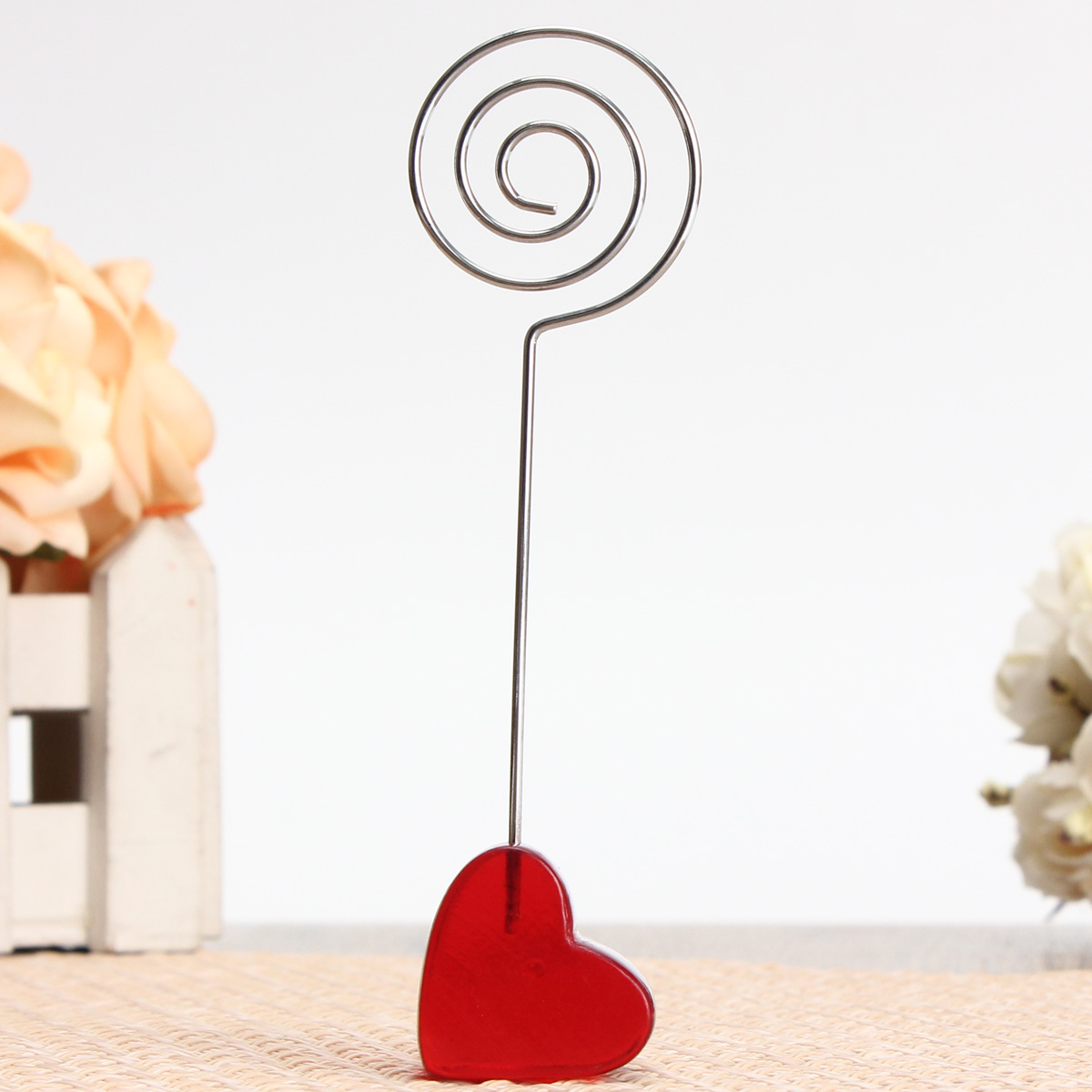 Red Stand Circle Iron Clip Card Stand Photo Card Holder Memo Paper Message Clip Desk Decor
