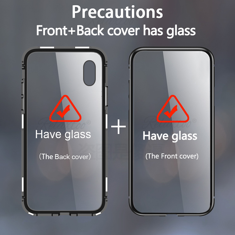 Bakeey Magnetic Adsorption Metal Bumper & Double-sided Tempered Glass Full Body Protective Case for Samsung Galaxy A70 2019