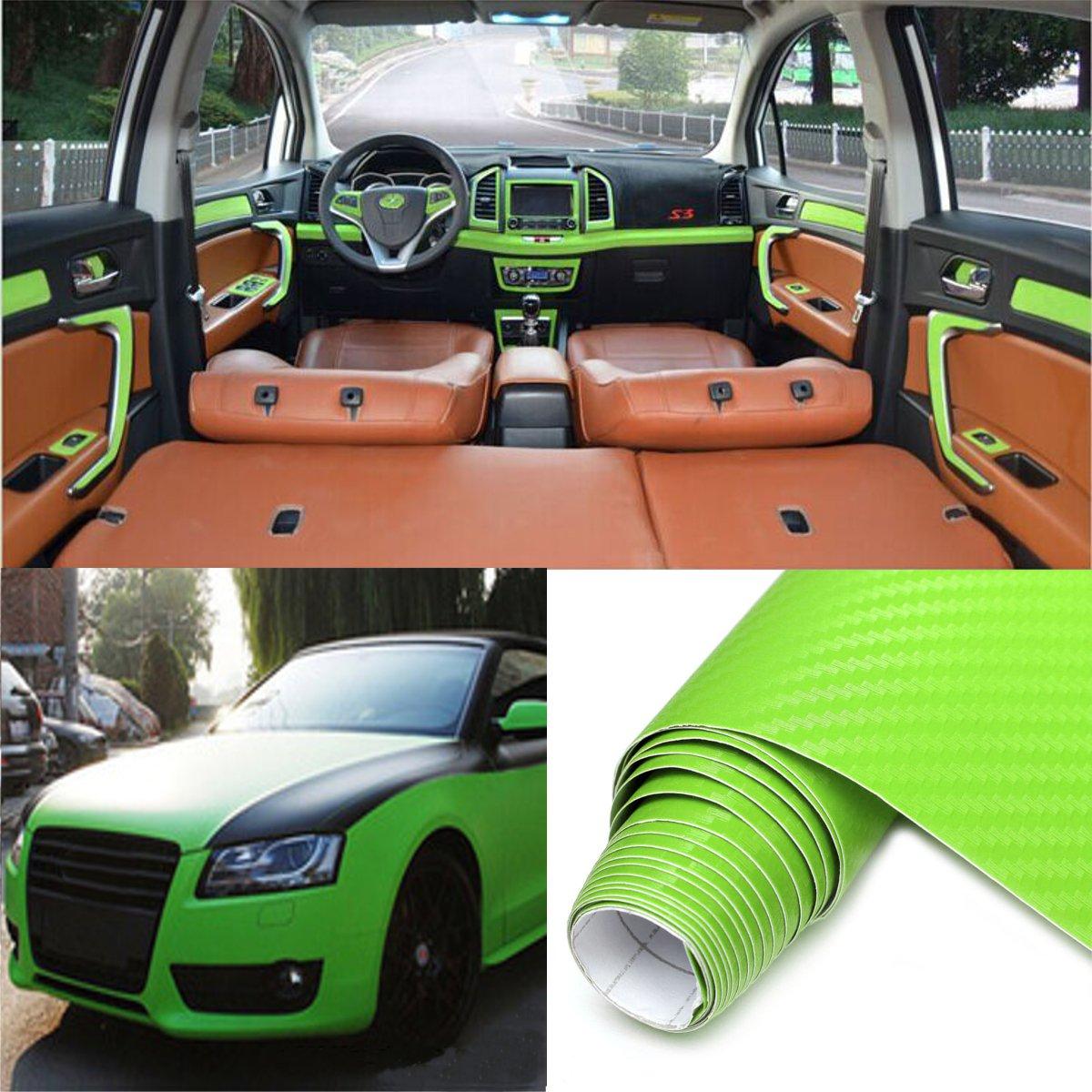 2Mx50CM DIY Gloss 3D Carbon Fiber Vinyl Wrap Roll Film Sticker 8 Colors for Car Vehicle