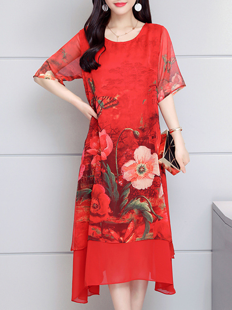 Chinese Style Layered Floral Dress