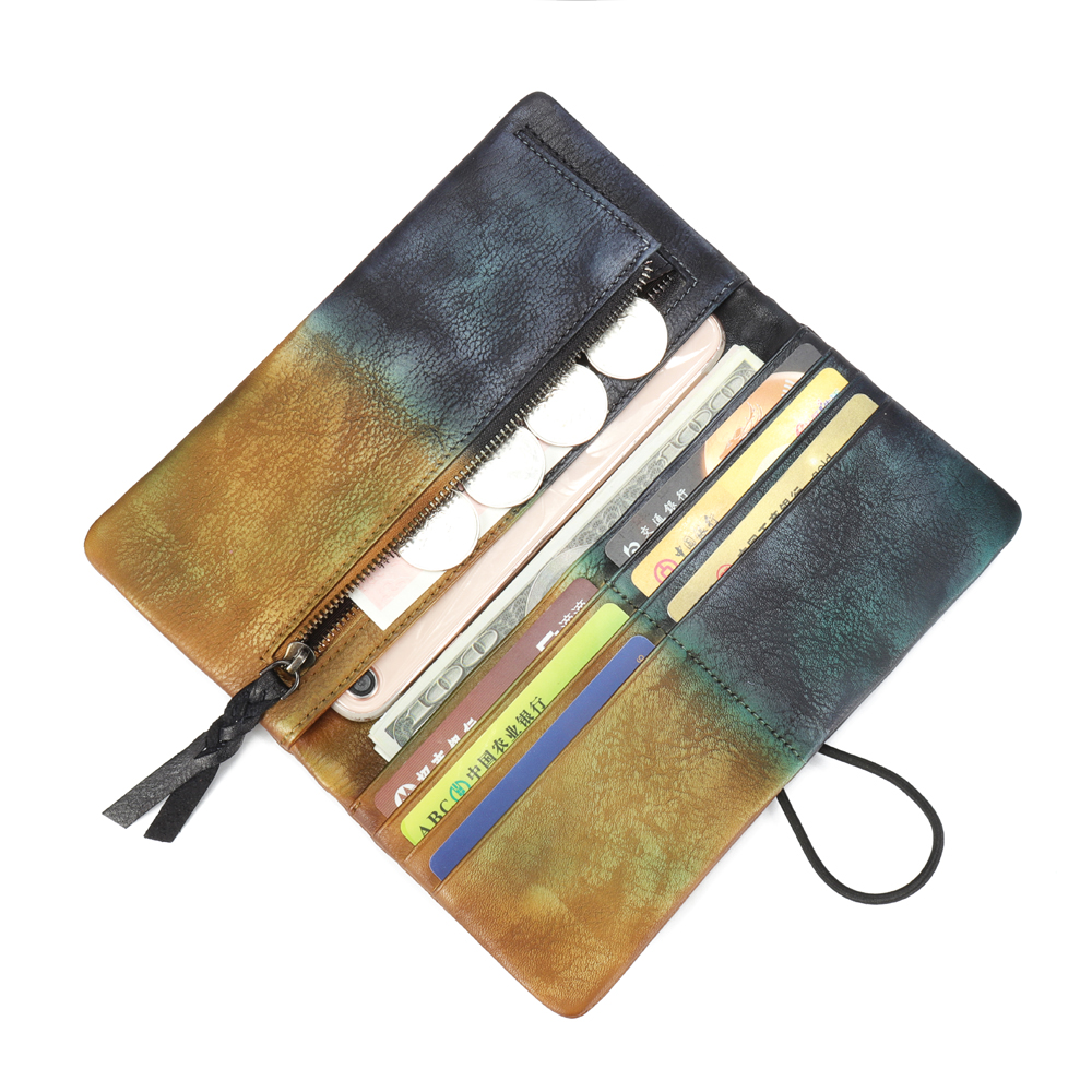 Brenice Women Multi-function Wallet Hand-Painted Brush-off Retro Casual Cowhide Long Purse