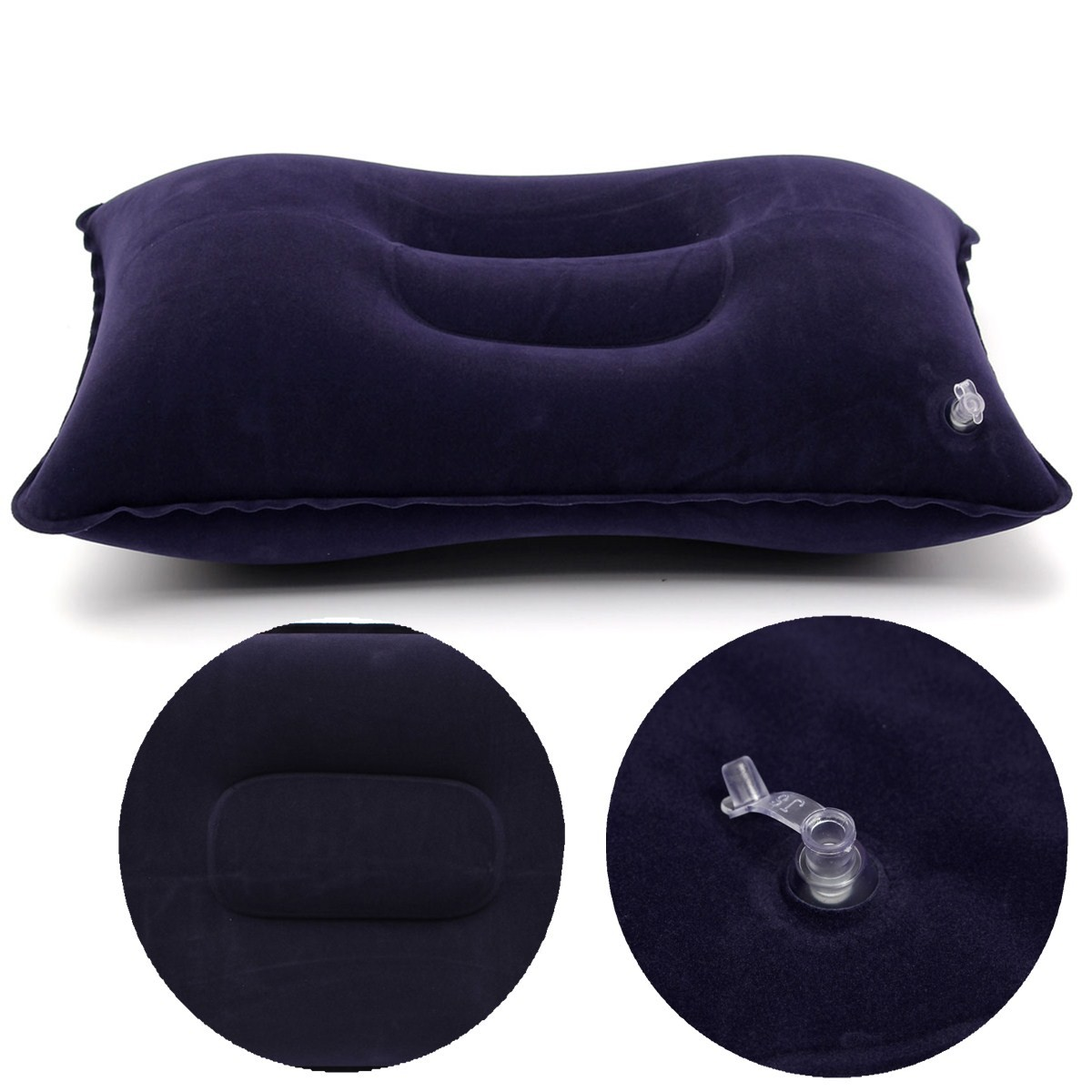 Blue Air Travel Camping Inflatable Pillow Protect Bed Comfortable Rest Head Neck Cushion