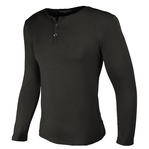 Mens Casual Fashion Button Collar T-shirt Outdoor Sport Long Sleeved T-shirt