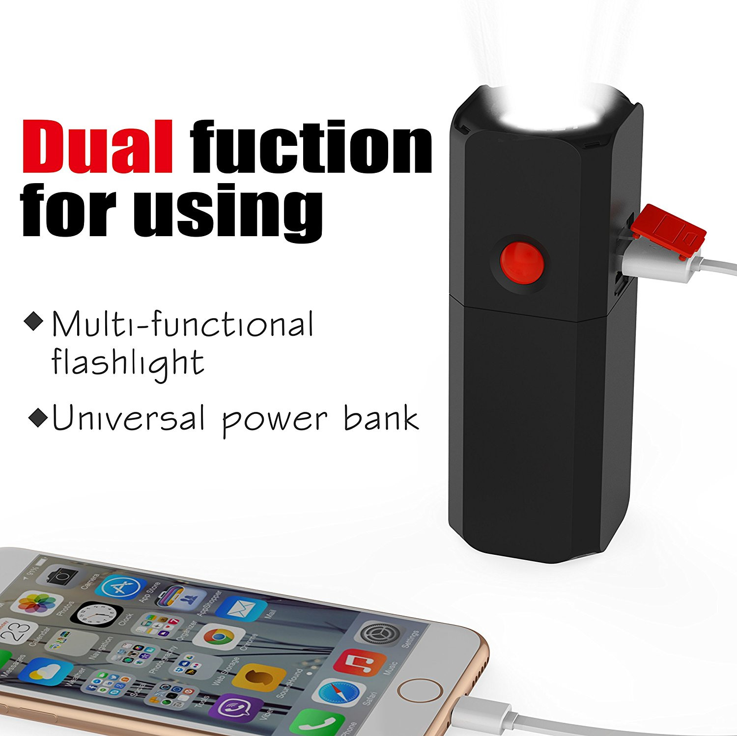 Tuya 2 in 1 10400mAh Power Bank for Phone and Dimming Mini USB LED Flashlight for Reading Outdoor