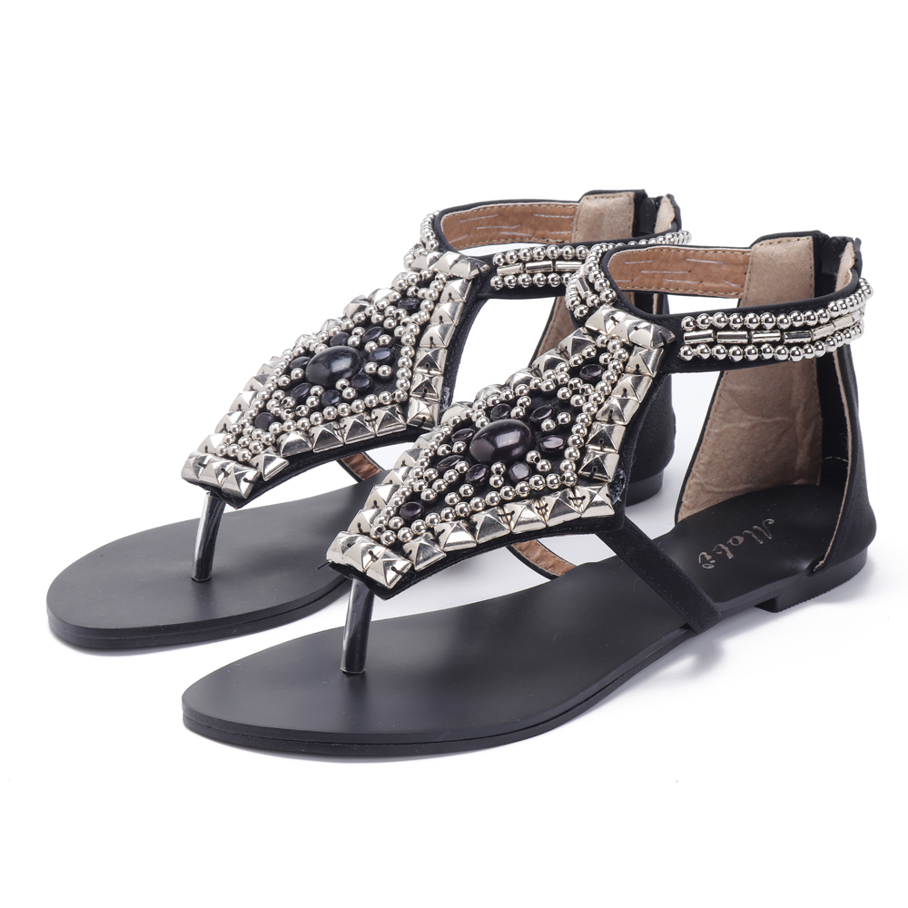 Rhinestone Clip Toe Hollow Out Zipper Beach Sandals