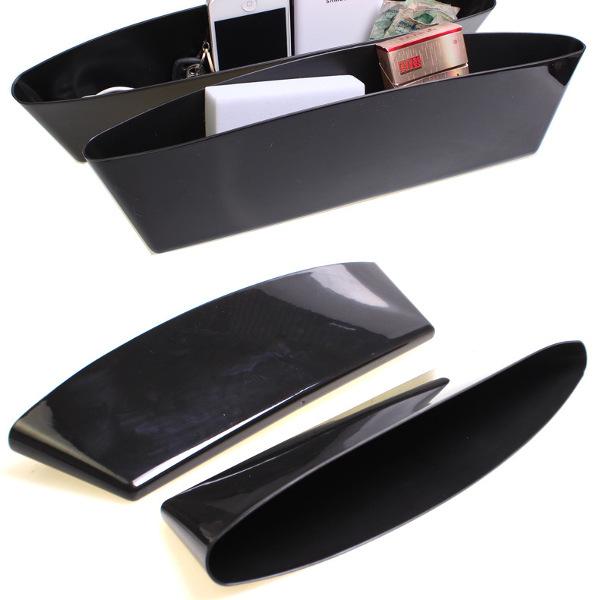 2Pcs Black Car Seat Crevice Storage Interior Catch Catcher Organizer Box Seat Slit Pocket