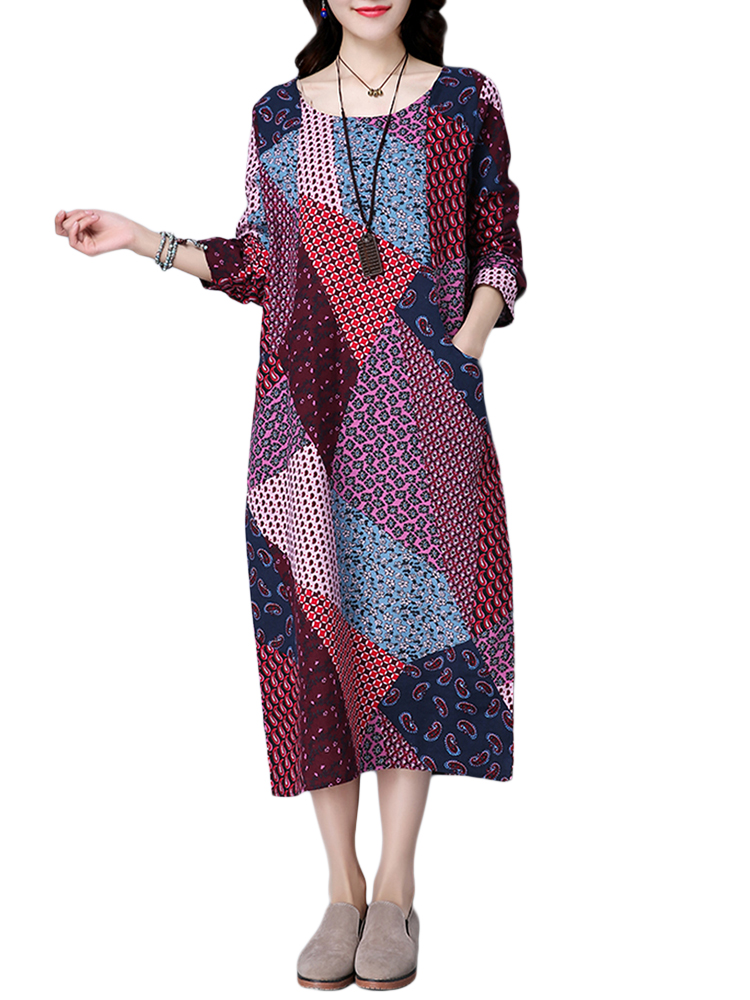 Floral Women Dress Folk Style Patchwork Printed Dress