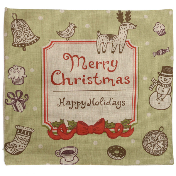 Christmas Letters Throw Pillow Case Square Sofa Office Cushion Cover Home Decor