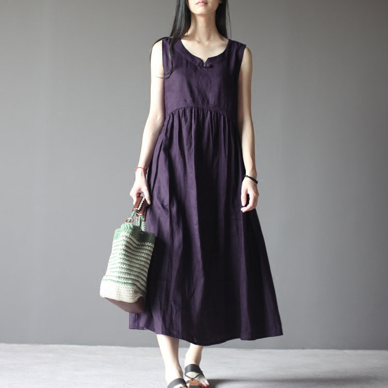 Retro Sleeveless Pleated Maxi Dress