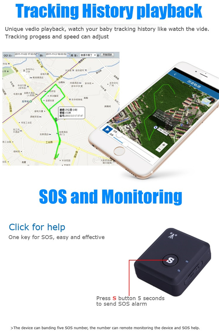 RF-V6+ GSM Quad Band LBS Global Location Real Time Tracker SOS Communicator Alarm for iPhone Android