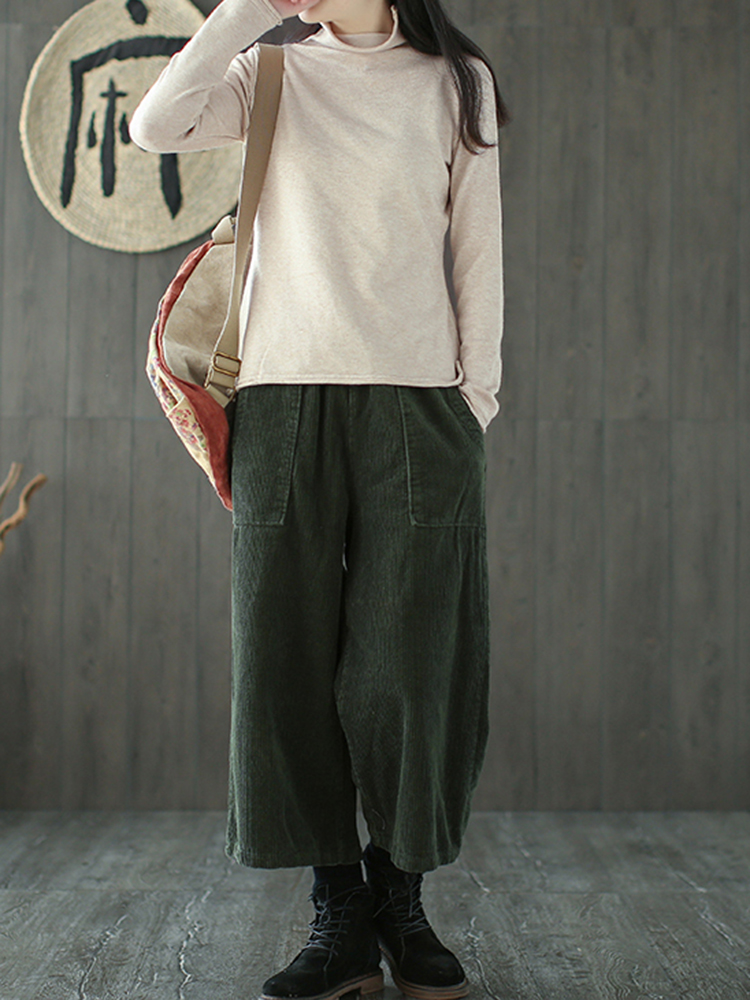 Women Drawstring Waist Pockets Corduroy Wide Leg Pant