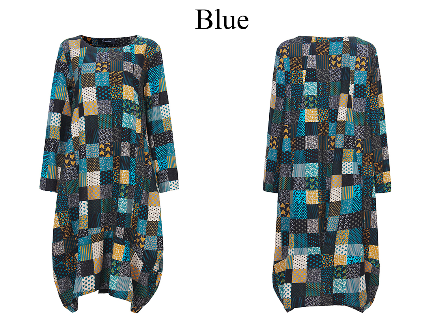 L-5XL Vintage Women Color Block Printed Dress