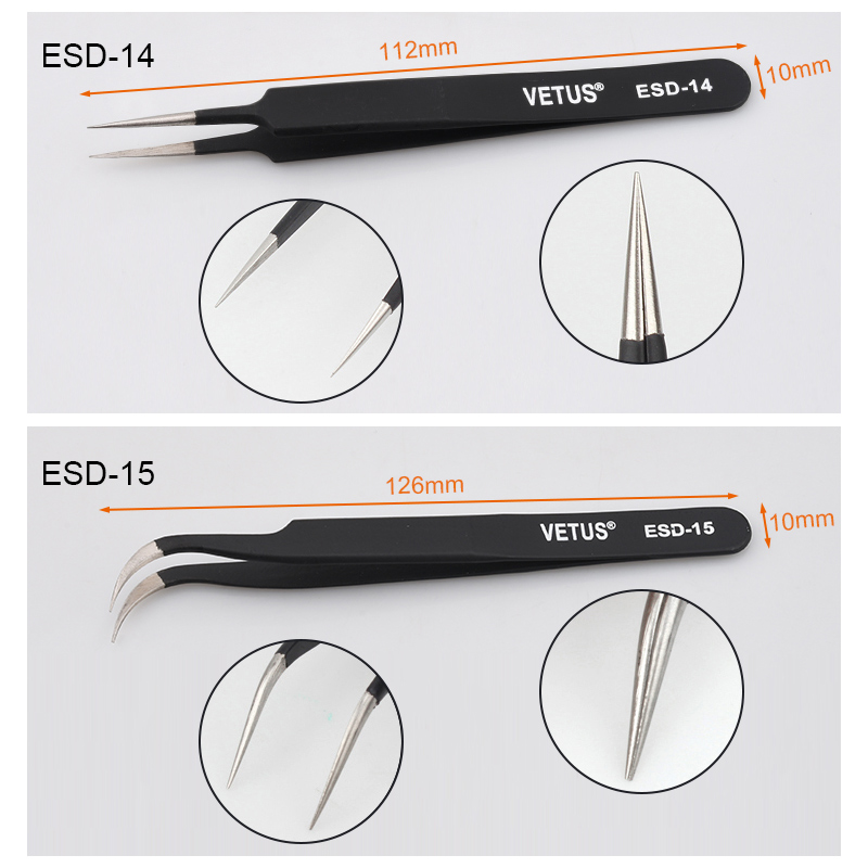 VETUS ESD10-15 Anti-static Stainless Steel Tweezer Set for RC Helicopter Repair Tools Kit - Photo: 8