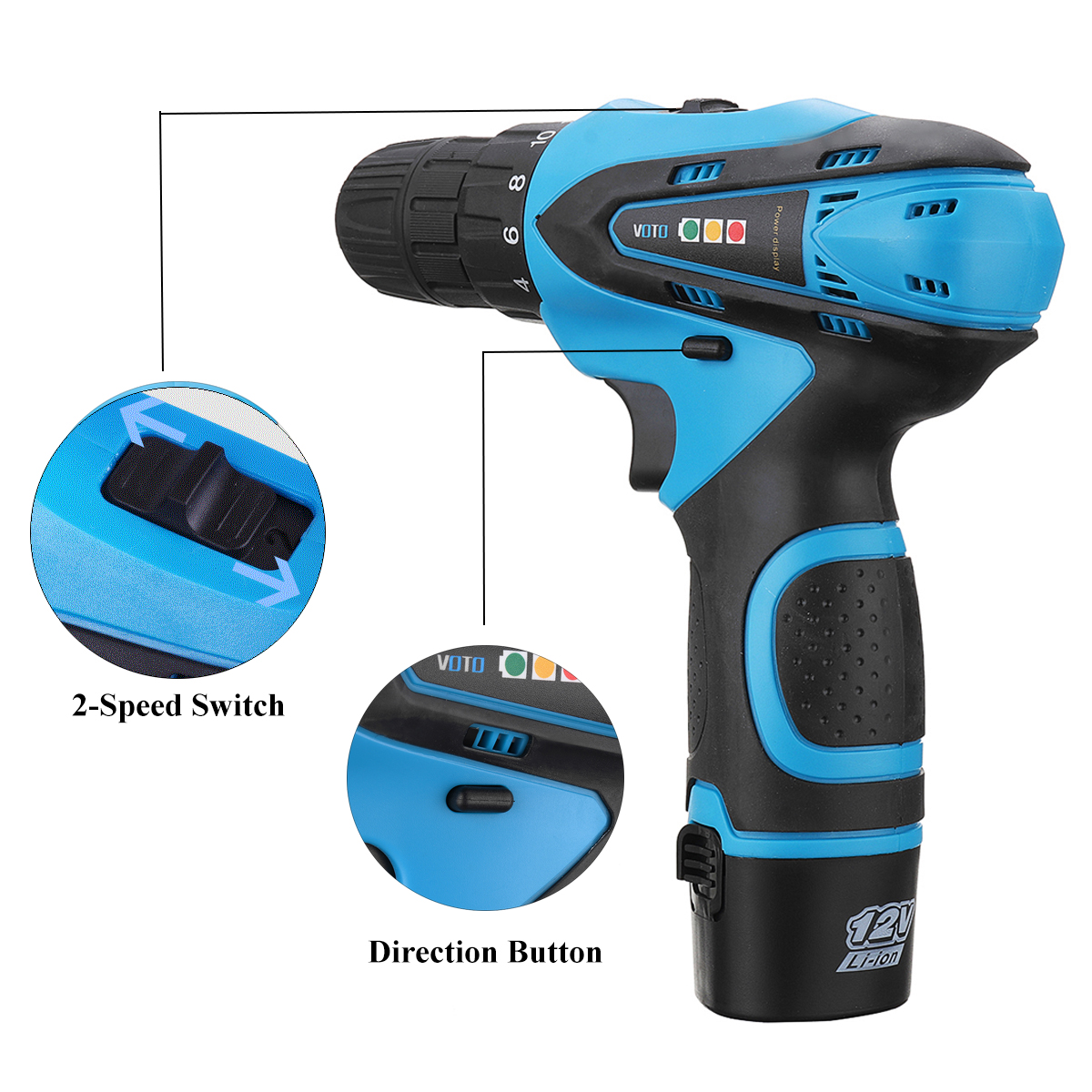 VOTO 12V Cordless Power Drills Driver Screw 2 Speed Lithium-ion Electric Screwdriver with Battery