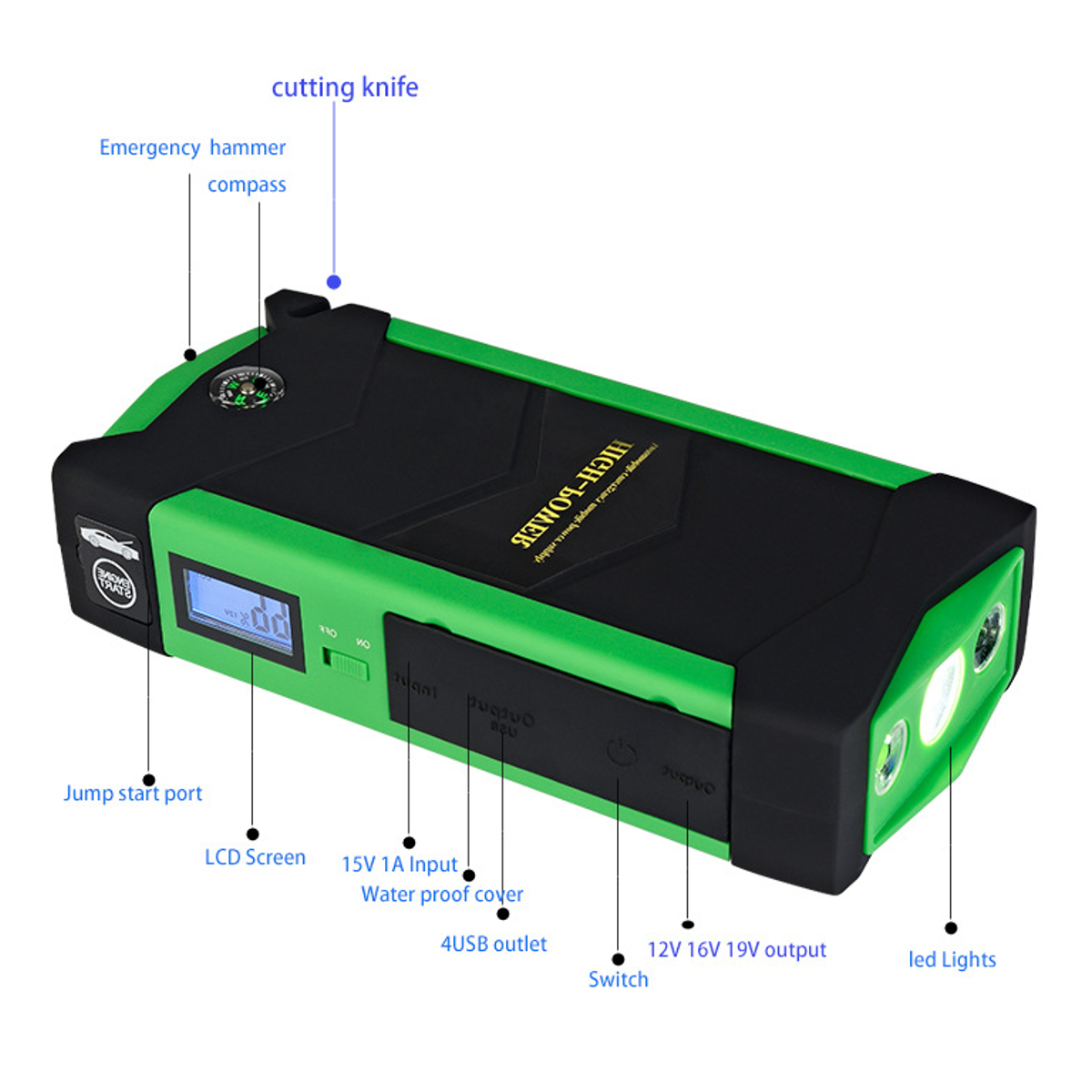 600A 82800mAh Multifunctional Portable Power Bank Battery Charger for Phone/Laptop/MP3/Lightings