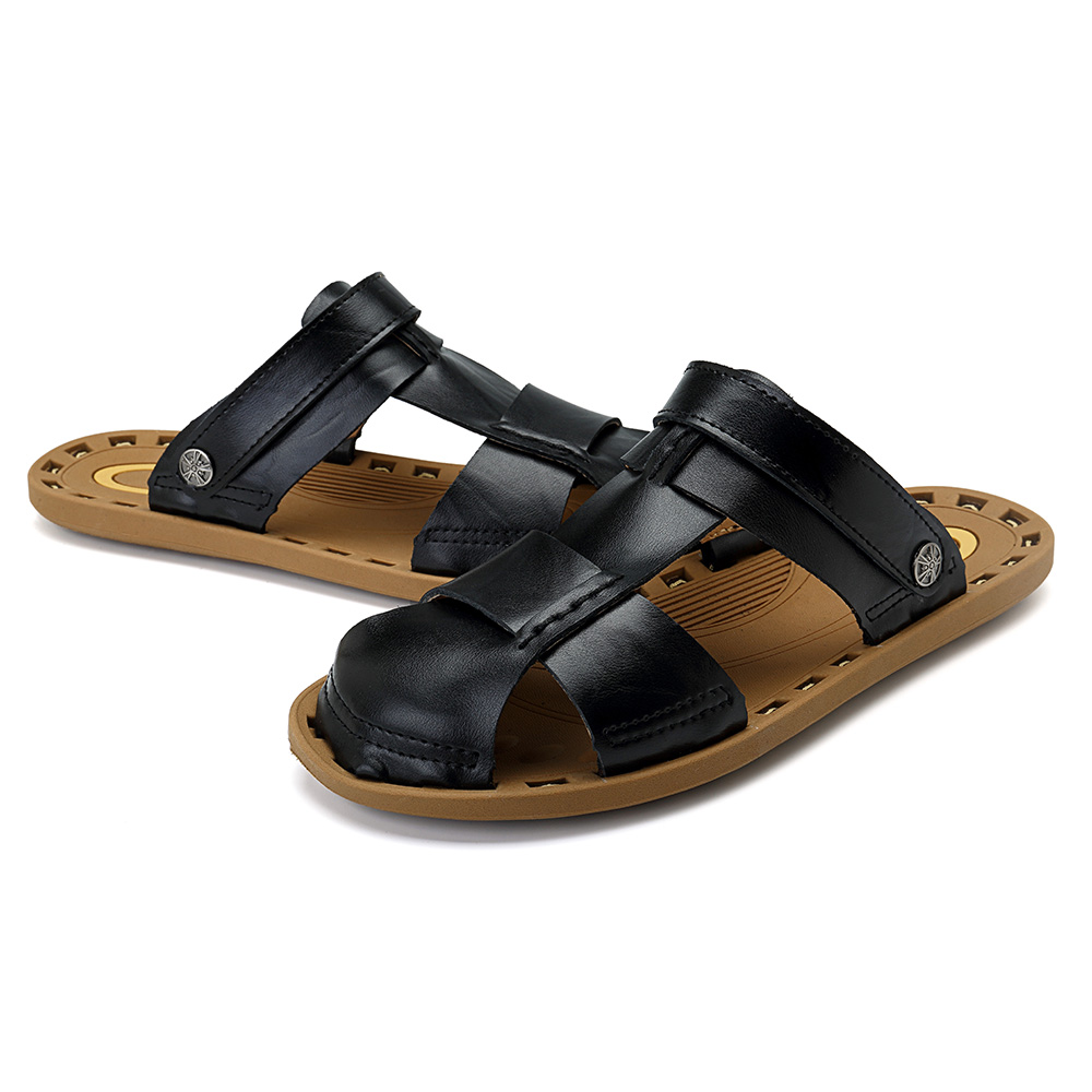 Men Breathable Leather Soft Sole Sandals Two Way Wear Shoes