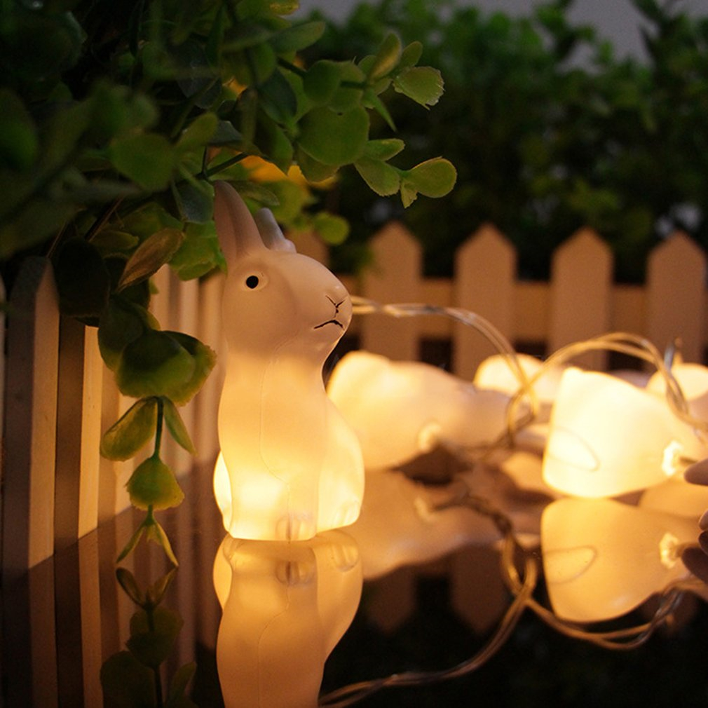 1.65M 10LEDs Lovely Rabbit Battery Powered String Night Lights for Christmas Festival Home Decorations Indoor & Outdoor Lamp Strings Rabbit Led String Lights Children Bedroom Lighting