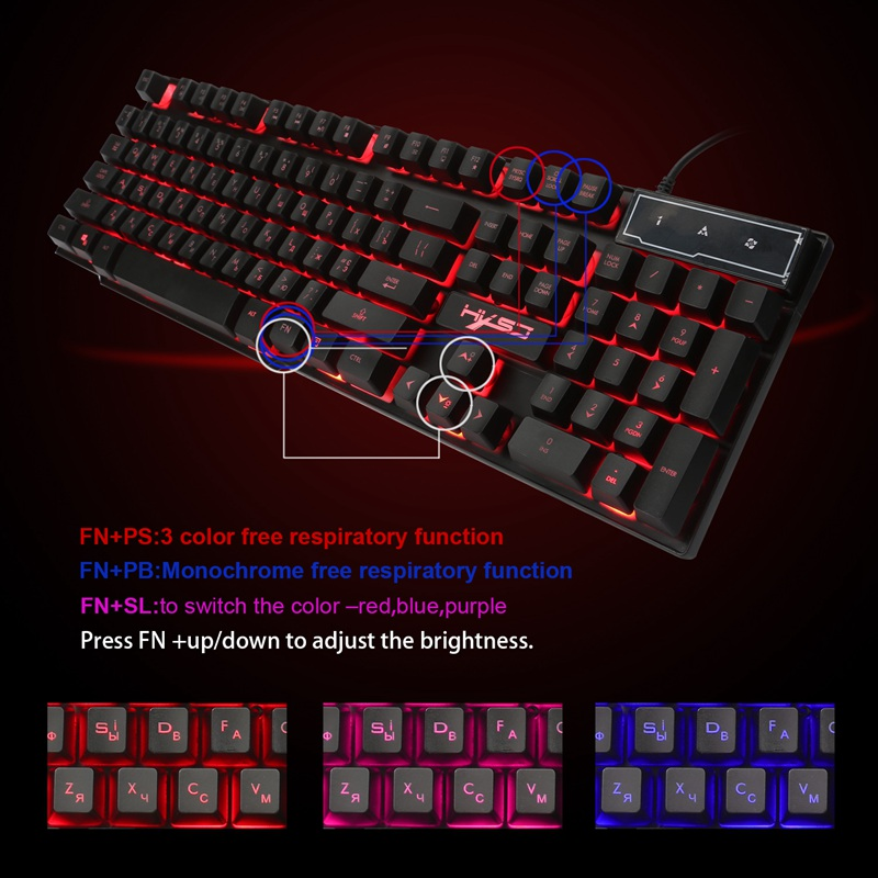 HXSJ R8 Russian English Dual Layout 104 Keys USB Wired Backlit Gaming Keyboard
