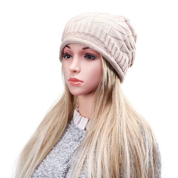 Women Knitted Crochet Baggy Beanie Caps Diamond Shaped Grid Warm Outdoor Ski Hats