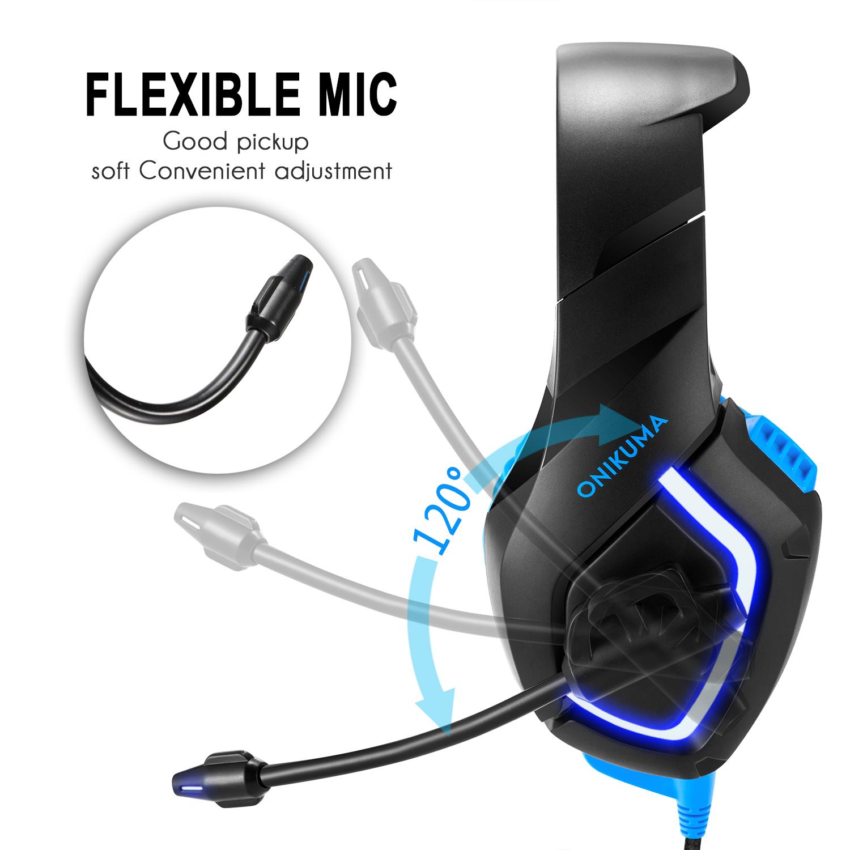 ONIKUMA K1-B Gaming Headphone Flexible Light Bass Stereo Over Ear Headset Headphone with Mic
