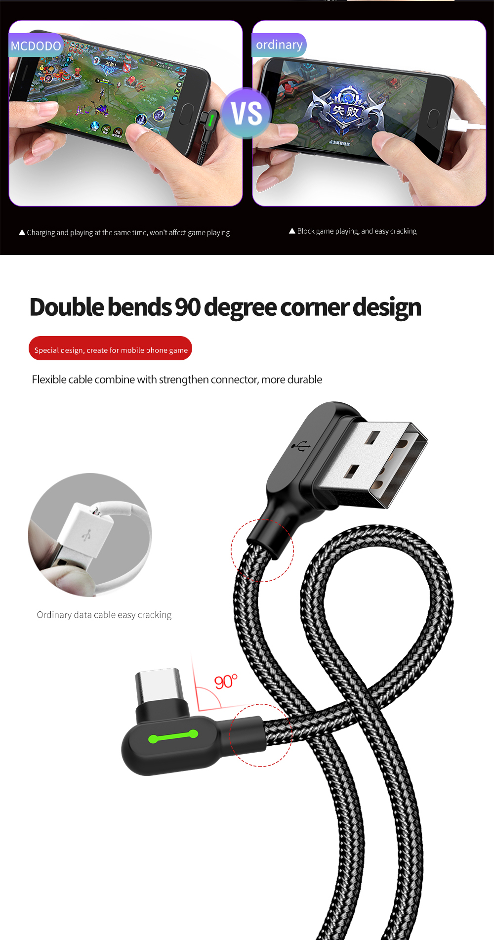 MCDODO Double 90 Degree Angle Type C Reversible Braided Fast Charging Data Cable With Light 1.2M
