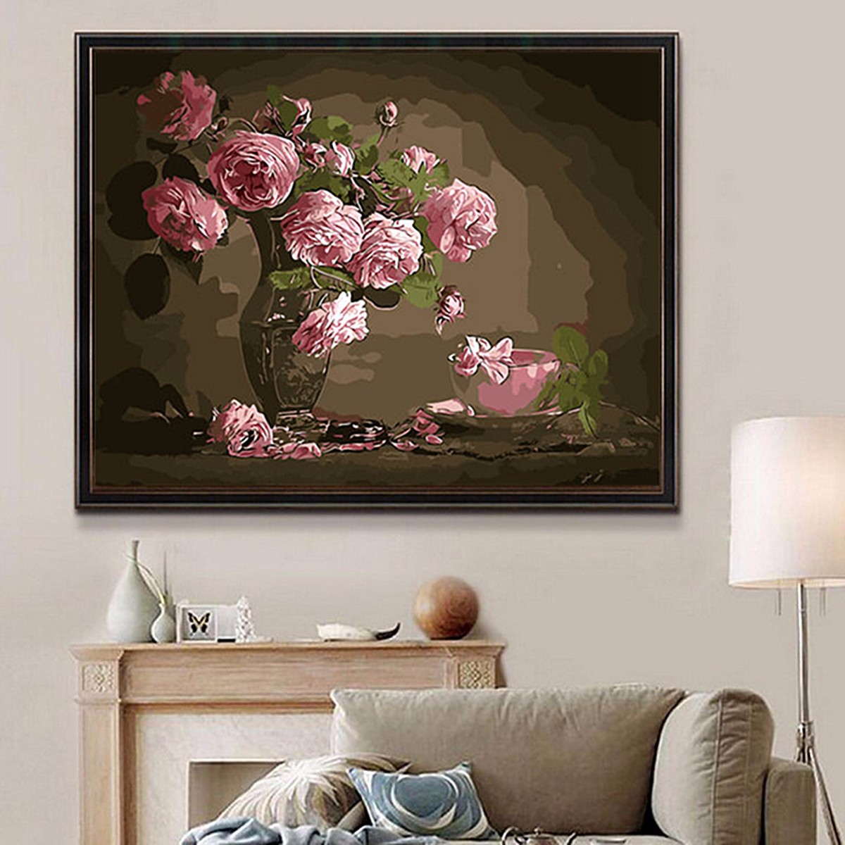 40X50CM New Pink Flower Vase Painting DIY Self Handicraft Paint Kit Wood Framed Home Decoration