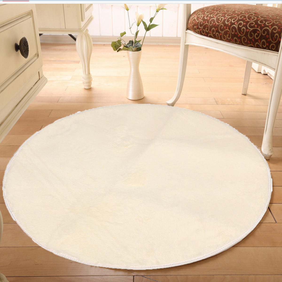 100x100 Pure Colour Soft Round Shaggy Mat Door Sill Floor Plush Carpet Anti Slip Bath Rug