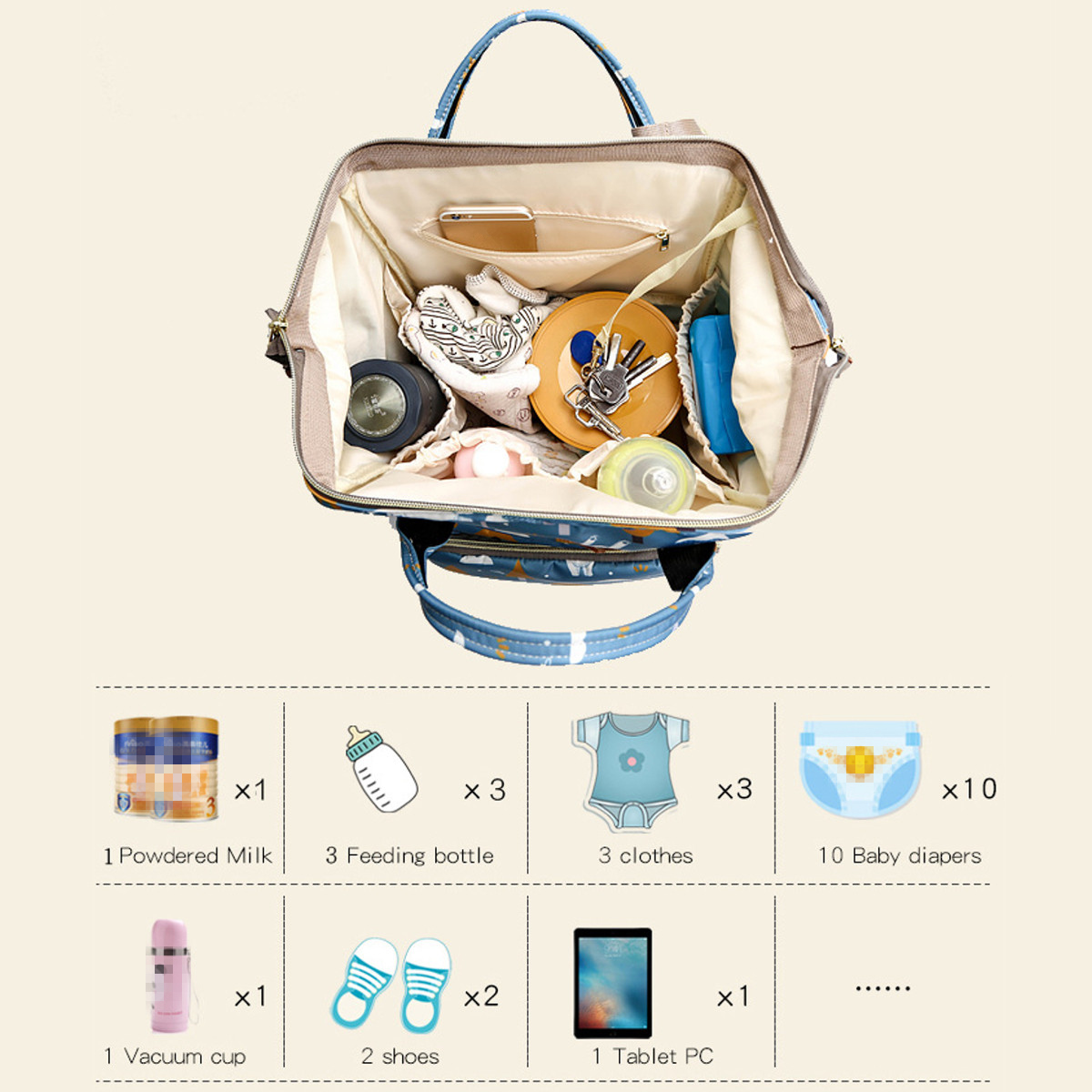 22L Waterproof Nappy Diaper Baby Change Mum Maternity Backpack Women Travel Bag Tote