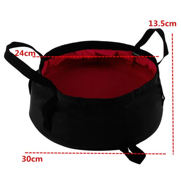 8.5L Portable Outdoor Foldable Folding Camping Basin Water Washing Bowl Pot Bag