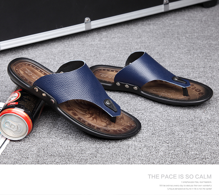 MAN Leather Flip Flop Sandals Slippers Simple Durable High-quality Shoe