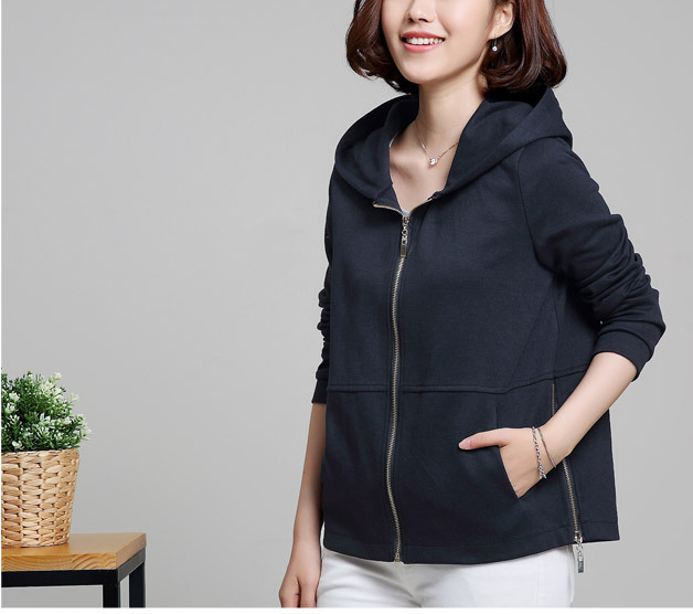 Casual Women Zip Pure Color Loose Jersey Jacket Coat Hoodie Sweatshirt