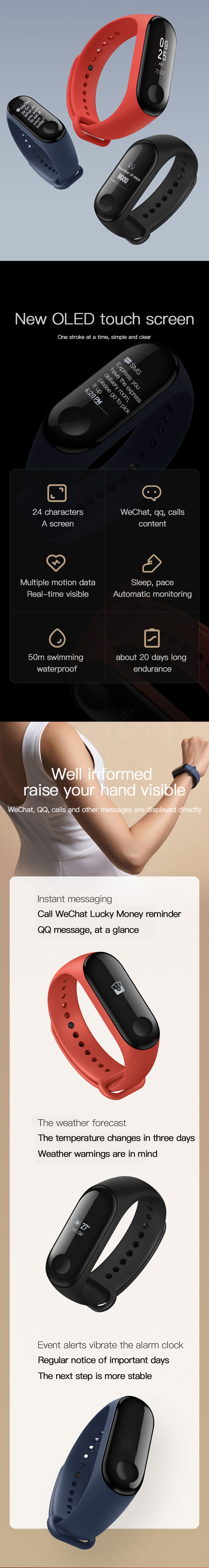 Original Xiaomi Mi band 3 Smart Watch OLED Display Heart Rate Monitor Bracelet International Version