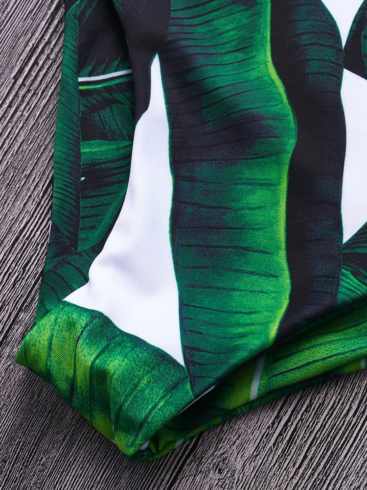 String Leaf Elastic Sling Printed Bikini Swimwear