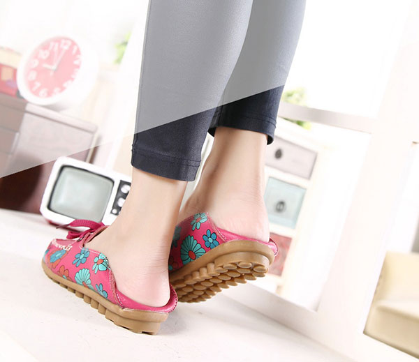 Flower Women Flat Casual Outdoor Soft Comfortable Leather Lace Up Loafers Shoes
