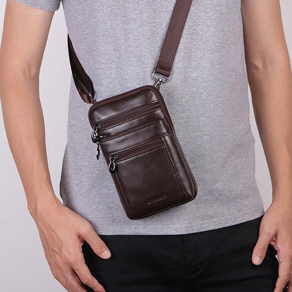 Men Business Casual Genuine Leather Waist Bag Crossbody Bag