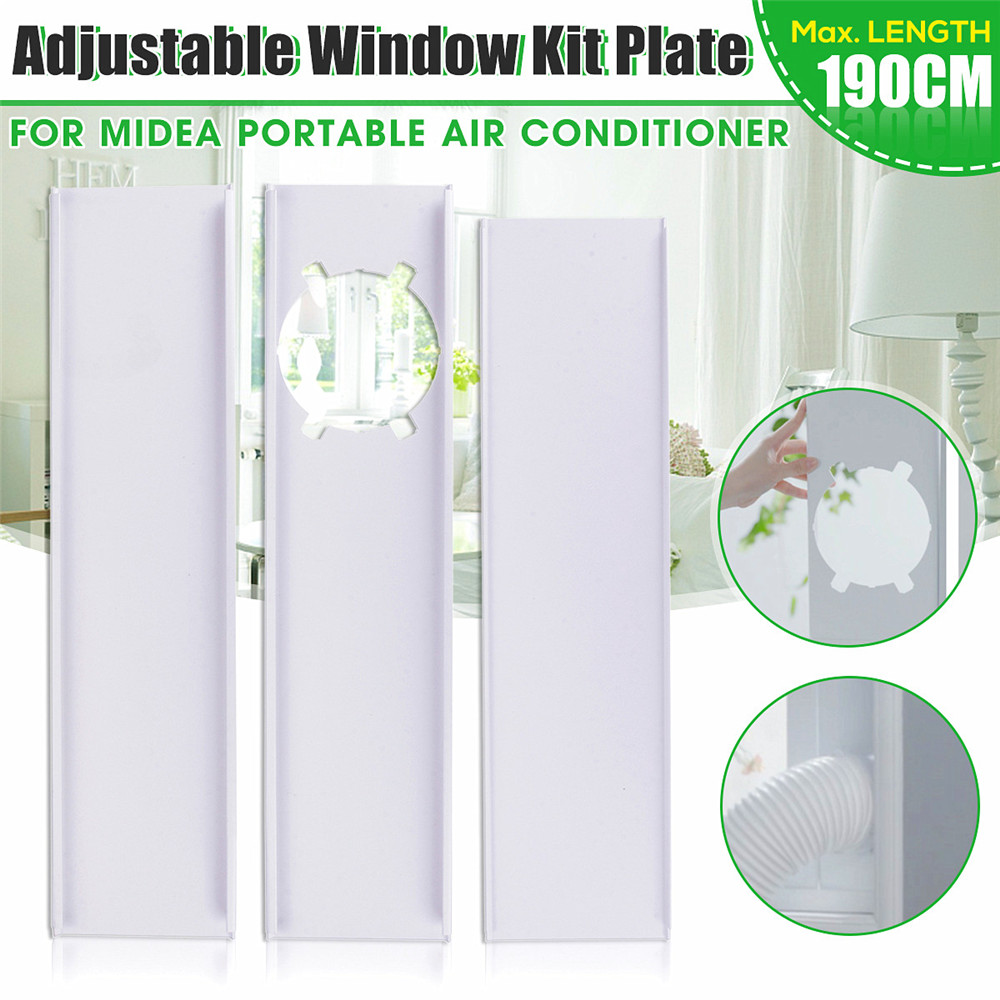 3Pcs 190cm Adjustable Window Slide Kit Plate Air Conditioner Wind Shield For Midea Portable Air Conditioner