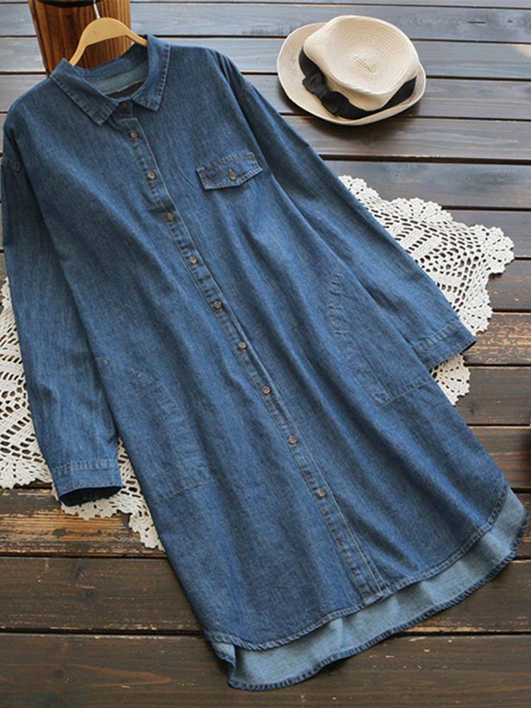 Women Long Sleeve Denim Buttons Asymmetrical Casual Shirt