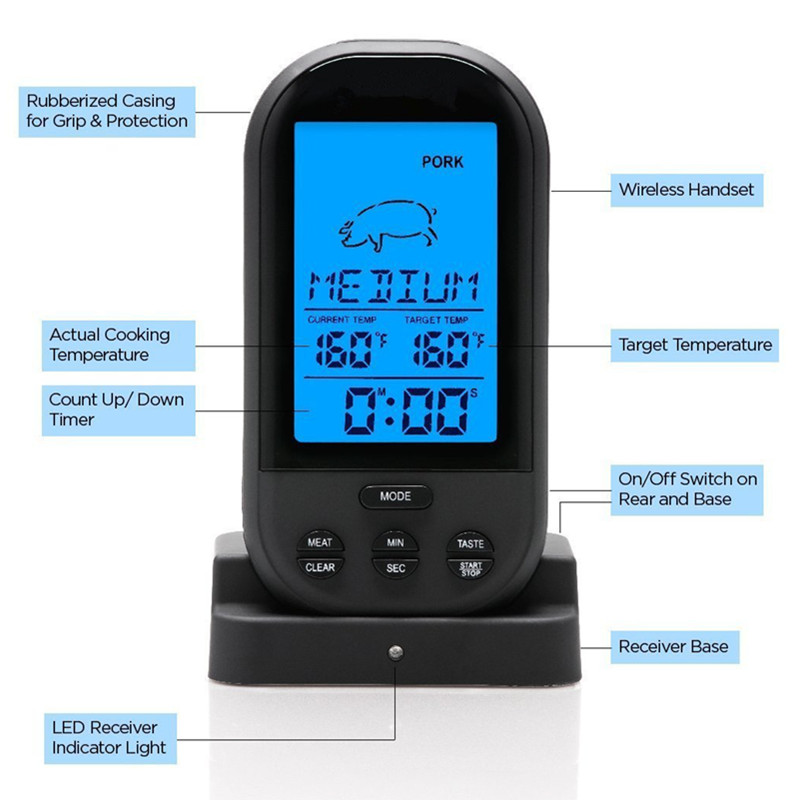 Digital Meat BBQ Thermometer Wireless Kitchen Oven Food Cooking BBQ Grill Smoker Thermometer