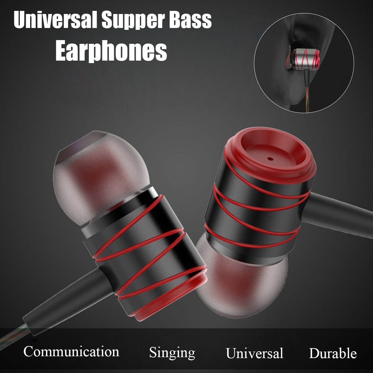 Metal 3.5mm Wired Control In-ear Heavy Bass Earphone Headphone with Mic for iPhone Samsung Xiaomi