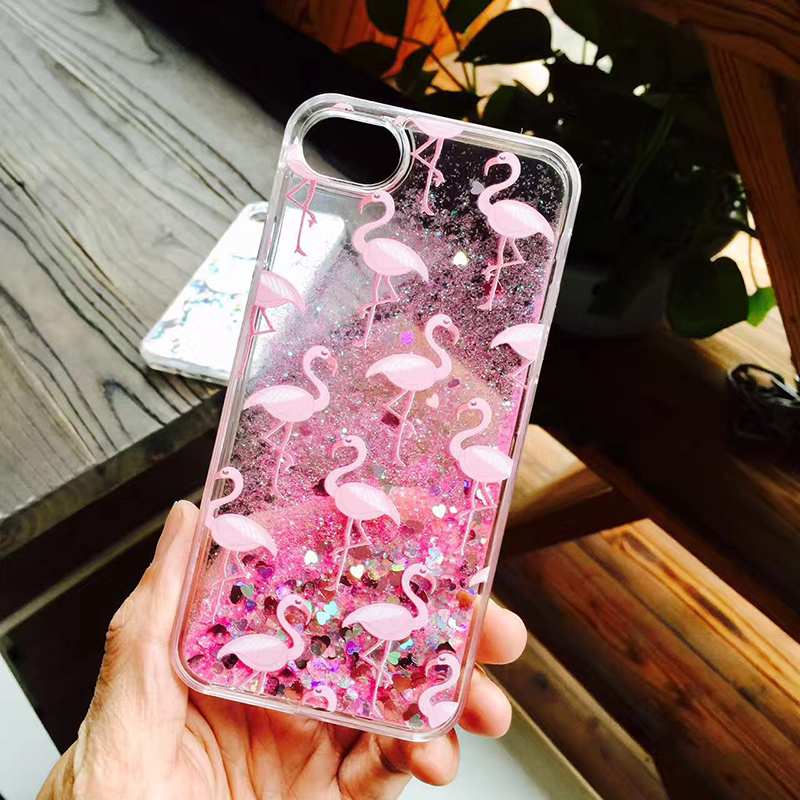 Flamingos Dynamic Glitter Quicksand Hard PC Protective Case for iPhone 6/6s/7/7 Plus