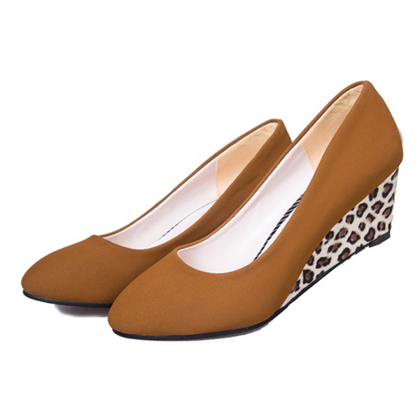 Women Slip On Casual Pumps Leopard Wedge Heels Platform Leisure Shoes